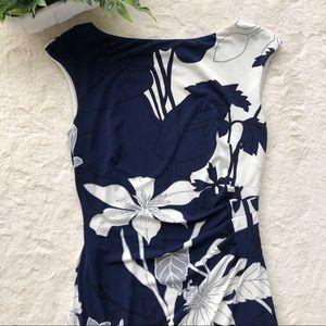 Ralph Lauren blue gray cream ruched floral dress